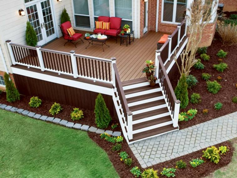 escaleras modernas-madera-jardines