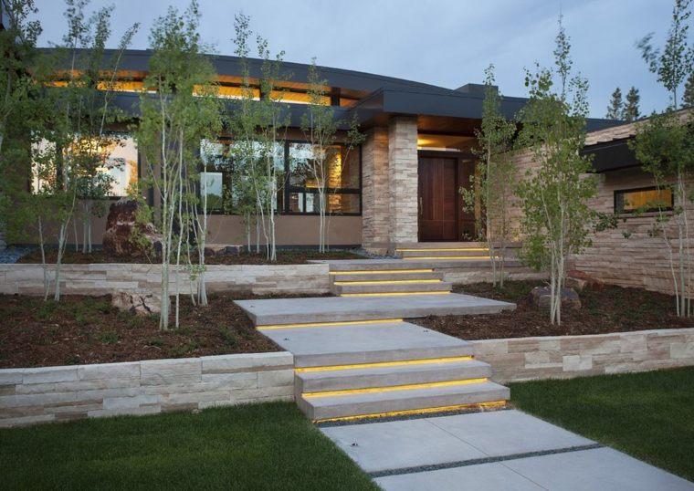escaleras modernas-piedra-luces-jardines