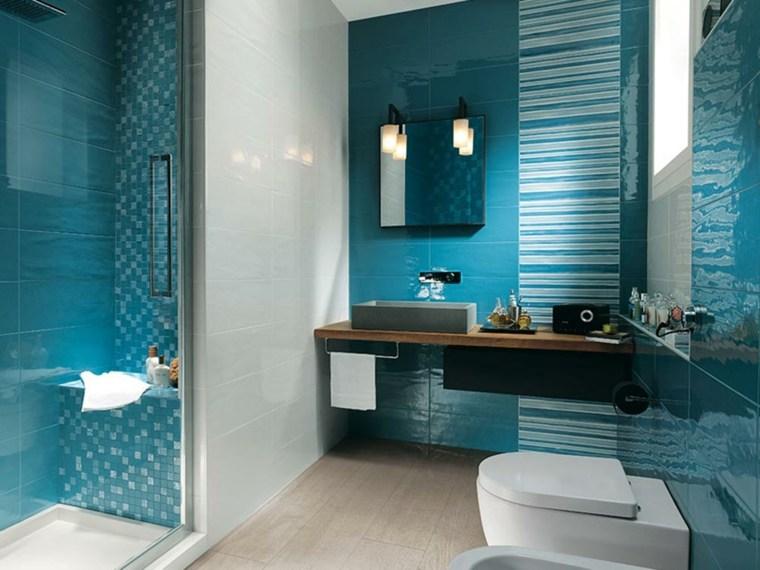 fotos de banos modernos-azul-blanco
