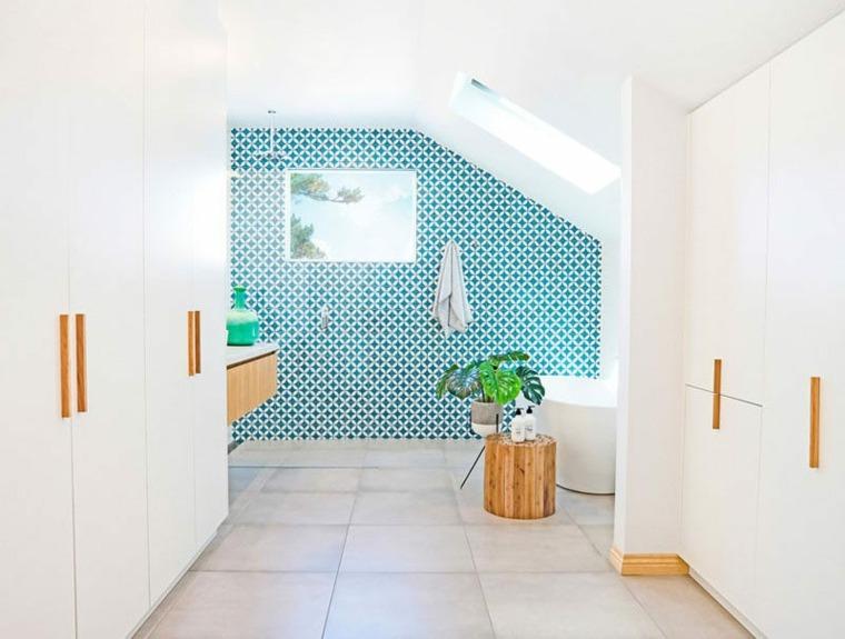 fotos de banos modernos-paredes-azules