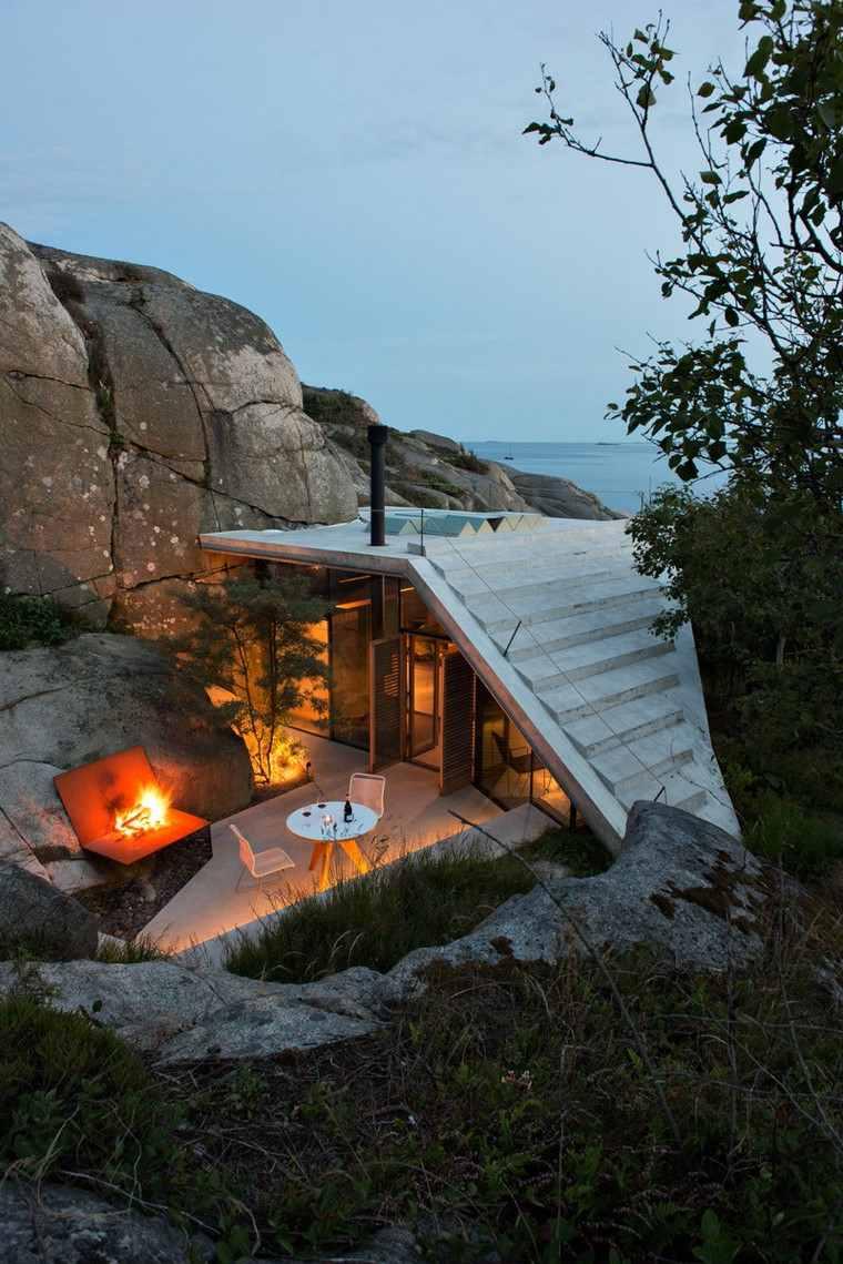 fotos de casas-Noruega-cabana-rocas