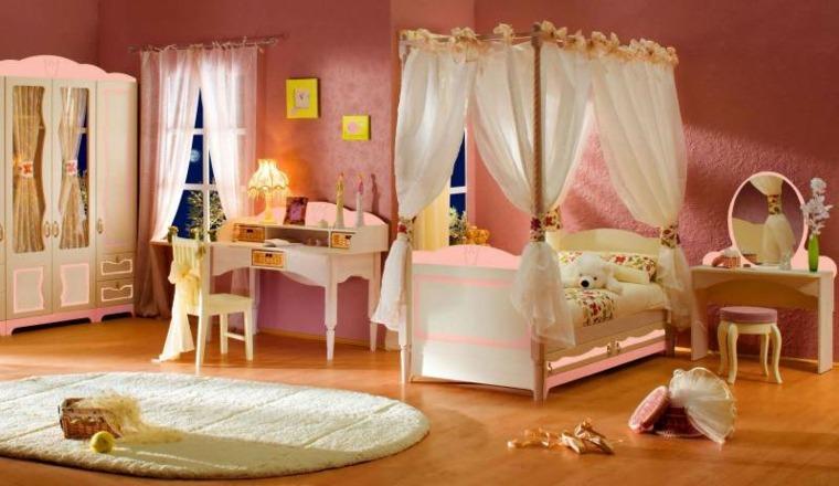 habitación-infantil-naranja-y-rosa