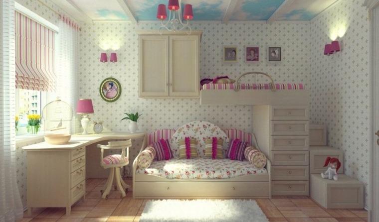 habitaciones-para-niñas-cama