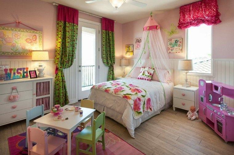 habitaciones para niñas rosa-verde