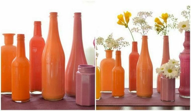 jarrones con flores-botellas-pintadas