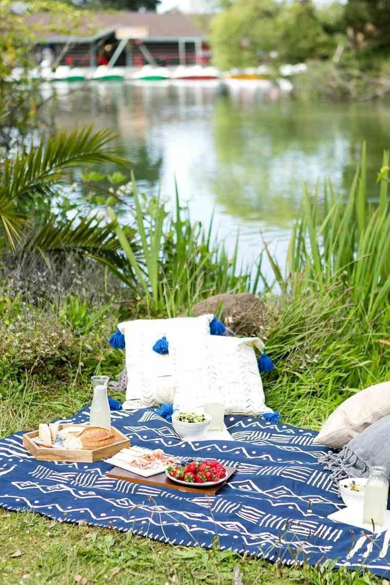 manta-de picnic azul