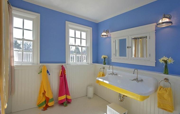 modelos de banos modernos-azul-amarillo