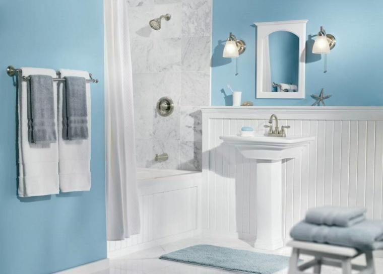 modelos de banos modernos-blanco-azul