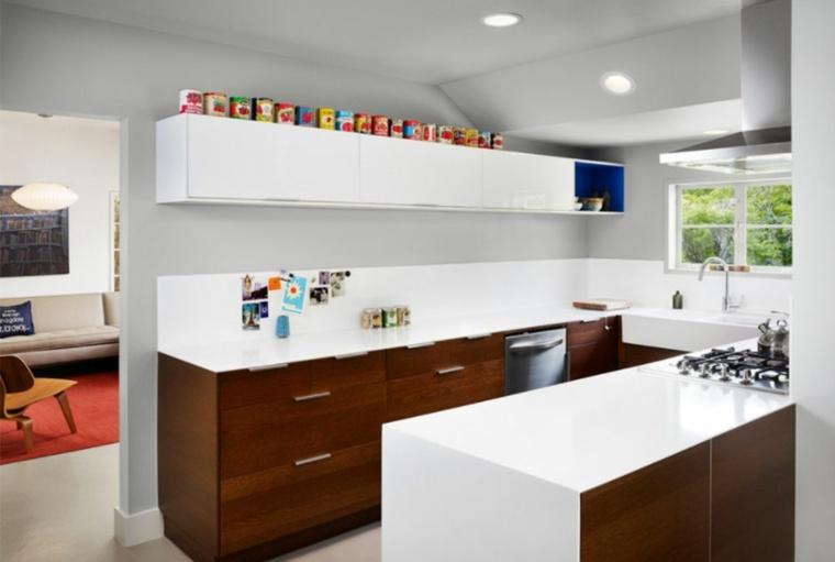 conjunto de gabinetes de cocina en blanco y madera