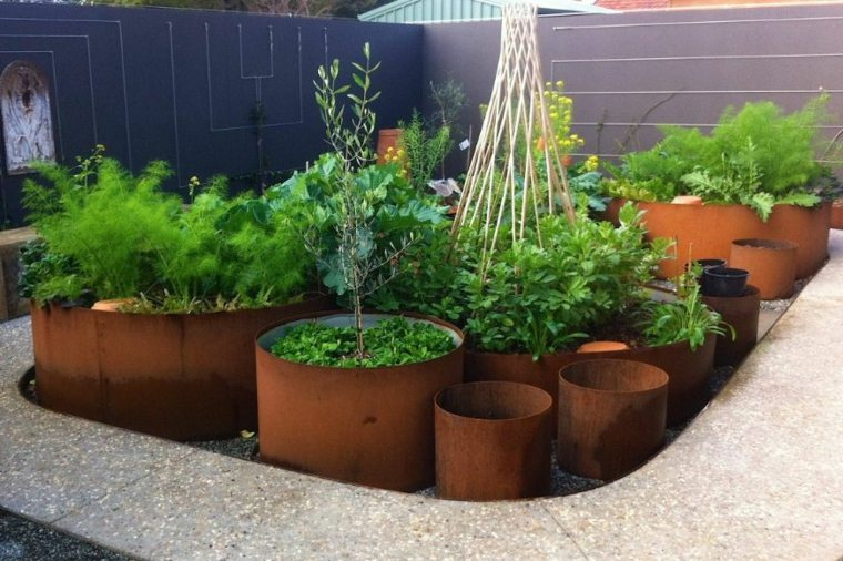 jardineras redondas de Corten