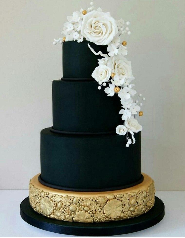 pastel-negro-decorado-flores-blancas