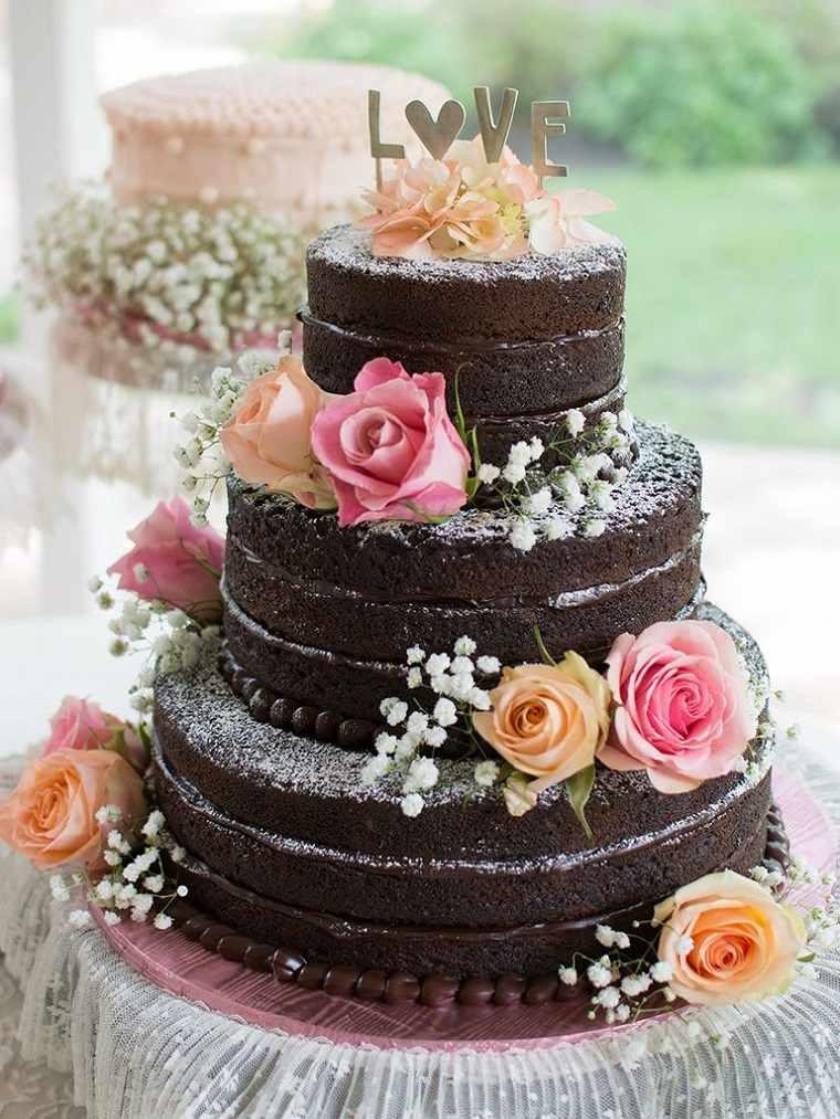 pasteles para boda-flores-pastel-chocolate