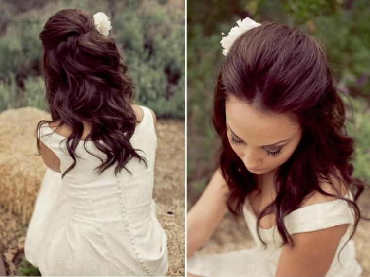 peinados cabello largo recogido-semirecogido