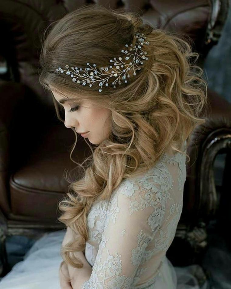 Peinados de novia con cabello semirecogido