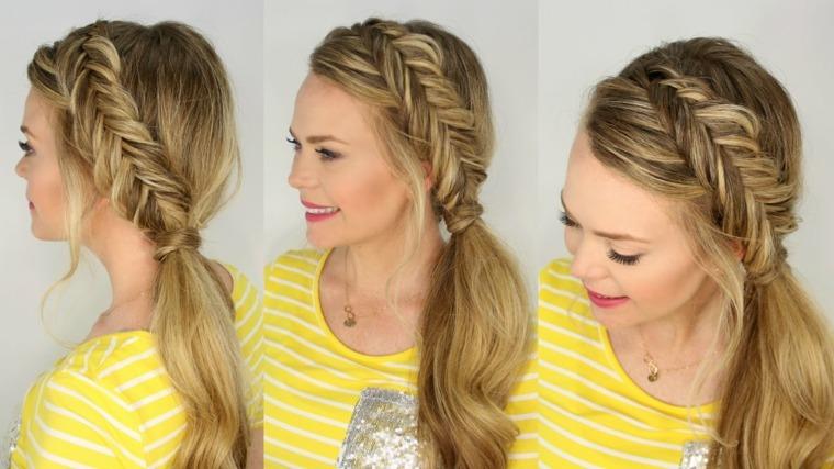 peinados de noche cabellos largo-trenzas