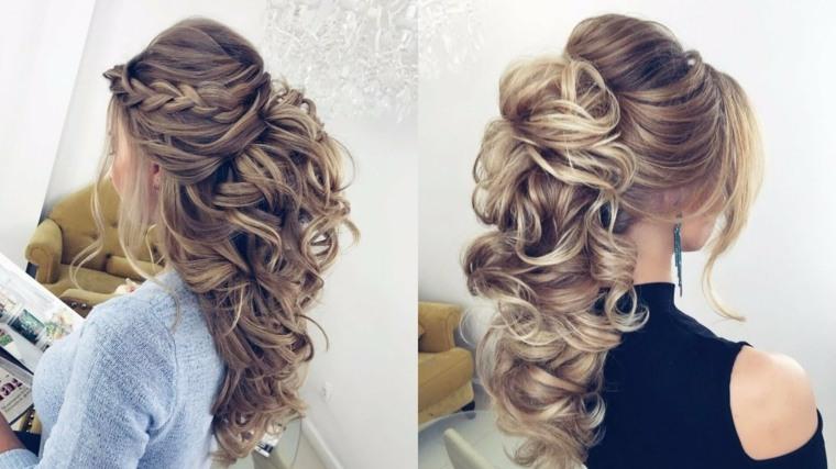 Peinados de novia modernos semirecogidos por qu elegirlos - Peinados de fiesta con rizos ...