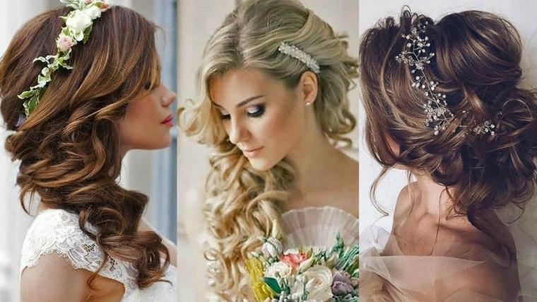 peinados de novia modernos-semirecogidos