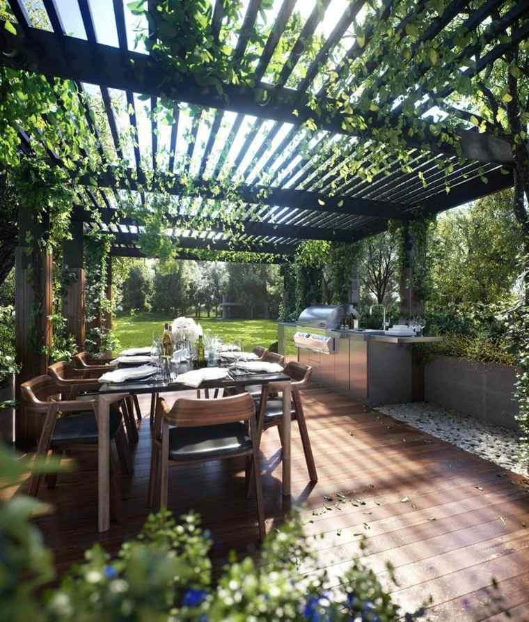 pérgolas para jardín pergola-plantas-comedor-cocina-aire-libre