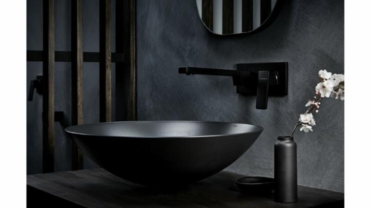 accesorios para banos-grifos-lavabos-negros