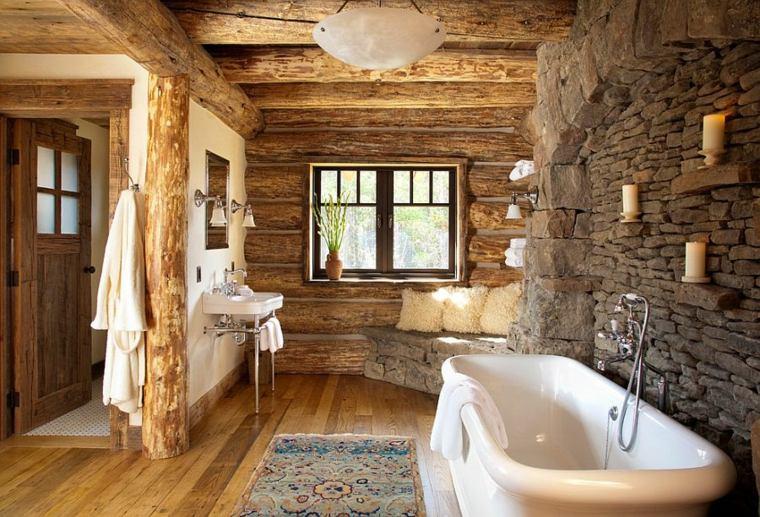 baño piedra y madera
