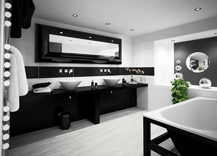 banos-blanco-negro-diseno-dos-lavabos