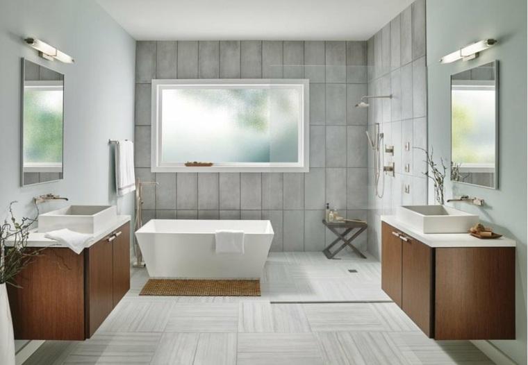banos modernos-decorados-color-blanco
