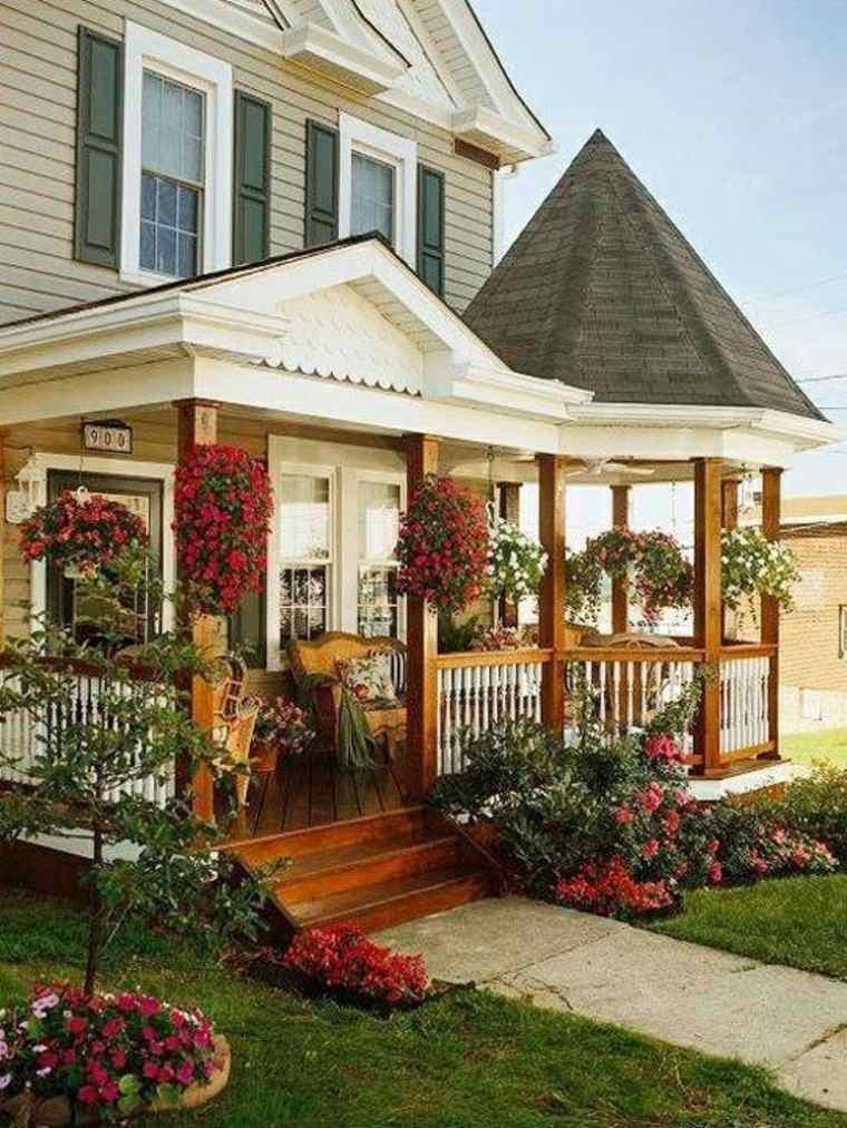 diseños de porches de madera clásicos