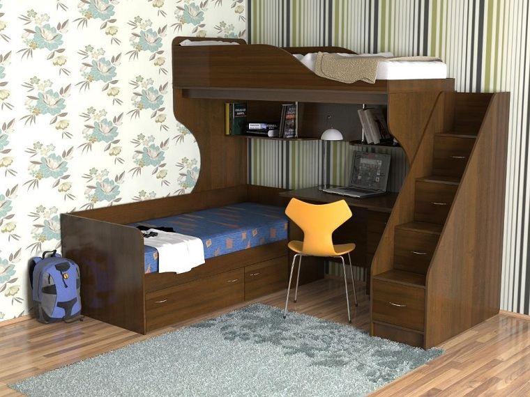 camas-madera-oscura-habitacion-ninos