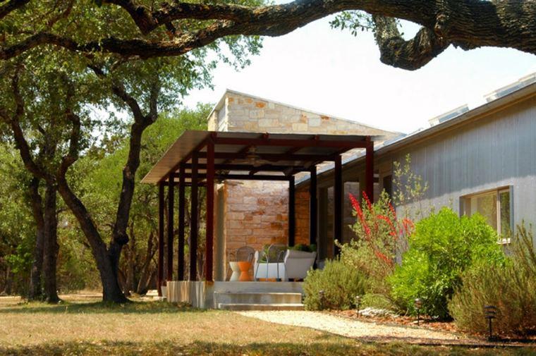 diseños de porches de madera minimalistas