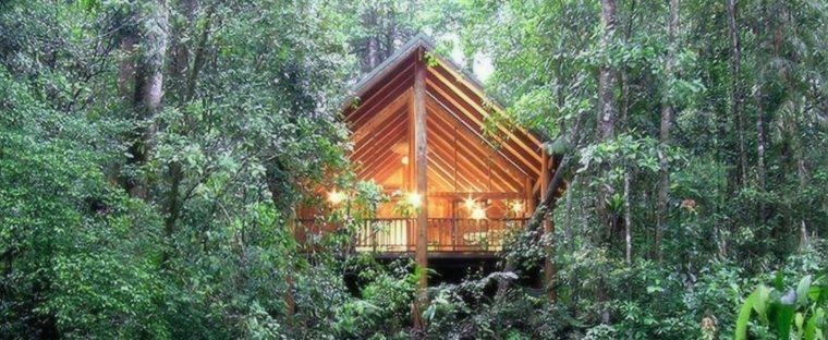 cabañas de madera modernas en el bosque