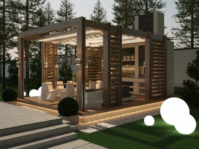 casas con porche y jardin-moderno-pergolas