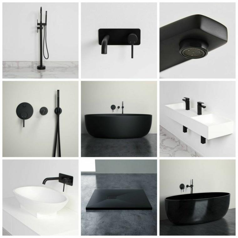 cuartos de bano-modernos-grifos-negros