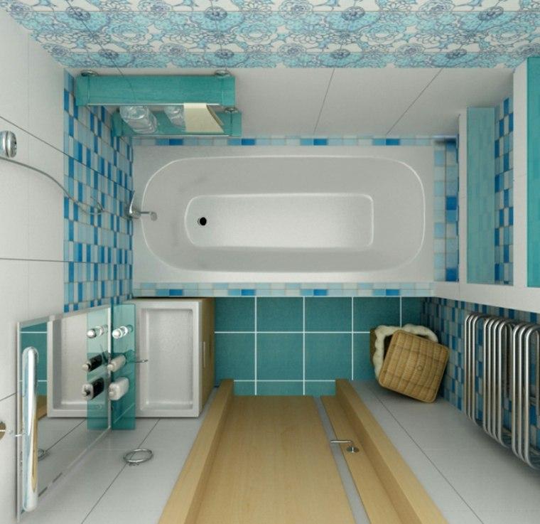 decoracion de banos pequenos-modernos-azul