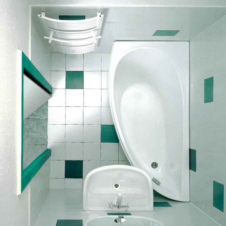 decoracion de banos pequenos-verde-blanco