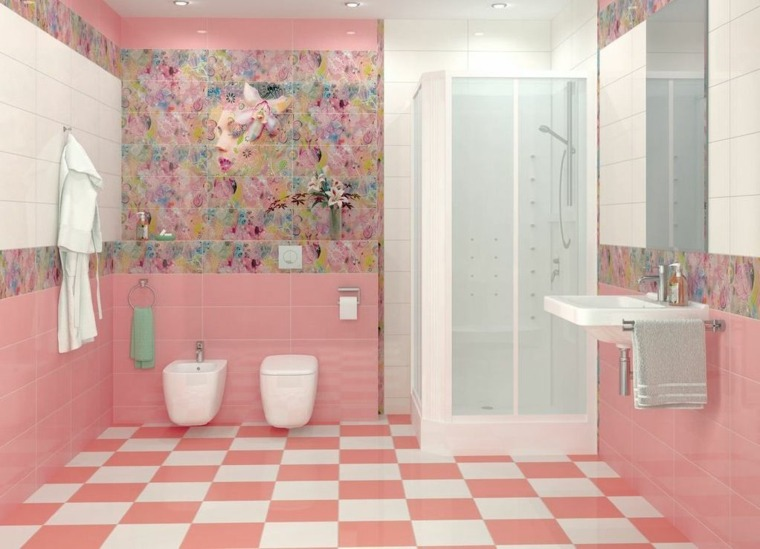 decoracion de banos-rosa-flores