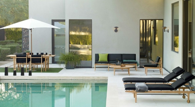 decoración de exteriores-jardin-contemporaneo-muebles-piscina