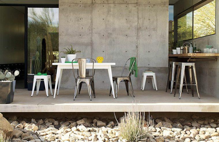 decoración de exteriores-jardin-contemporaneo-terrazamuebles-industriales