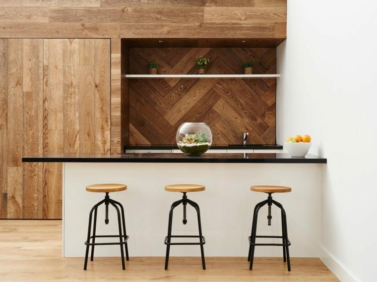 decoracion de paredes-cocinas-enlosado-madera