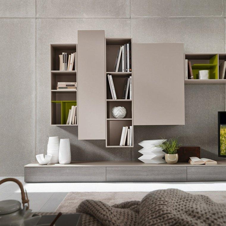 Muebles de sala modernos y repisas para libros para decorar for Muebles para decorar living