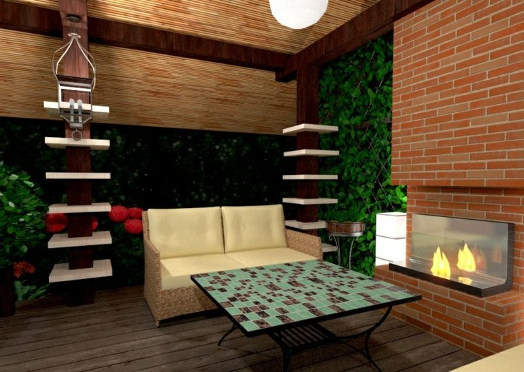 decoracion de terrazas-modernas-chimenea