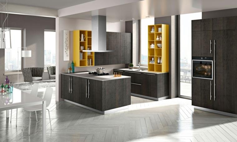 decoración moderna-cocina-estanterias-color-amarillo
