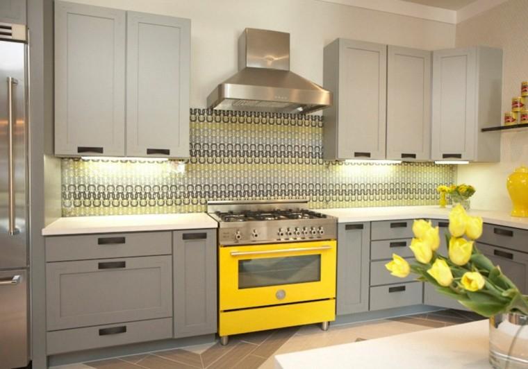 decoración moderna-cocina-horno-amarillo-original