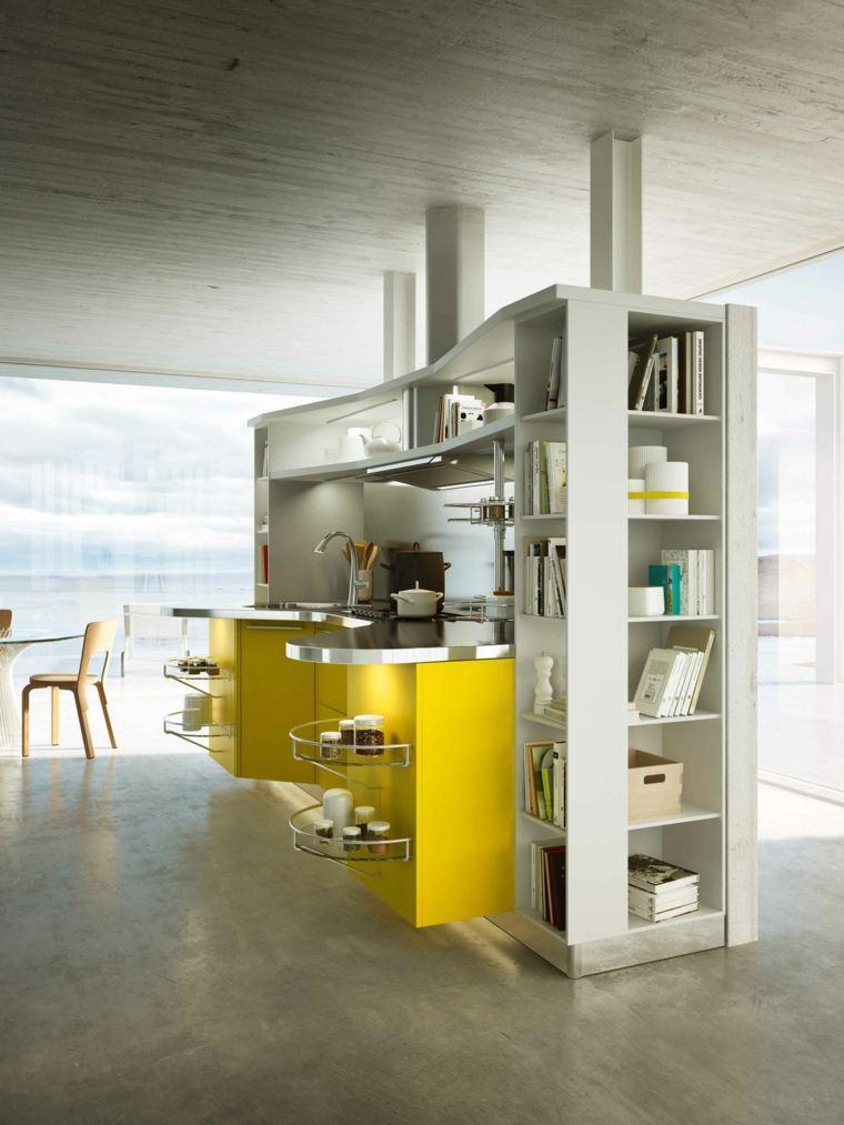 decoración moderna-cocina-muebles-amarillo-brillante
