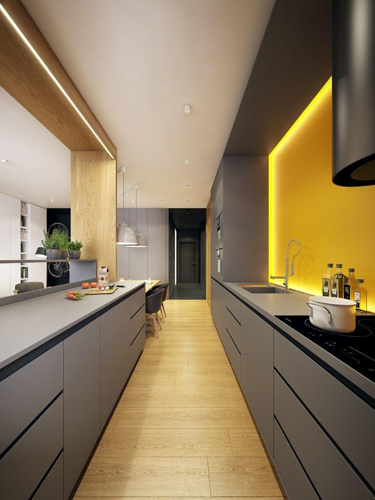 decoración moderna-cocina-salpicadero-amarillo