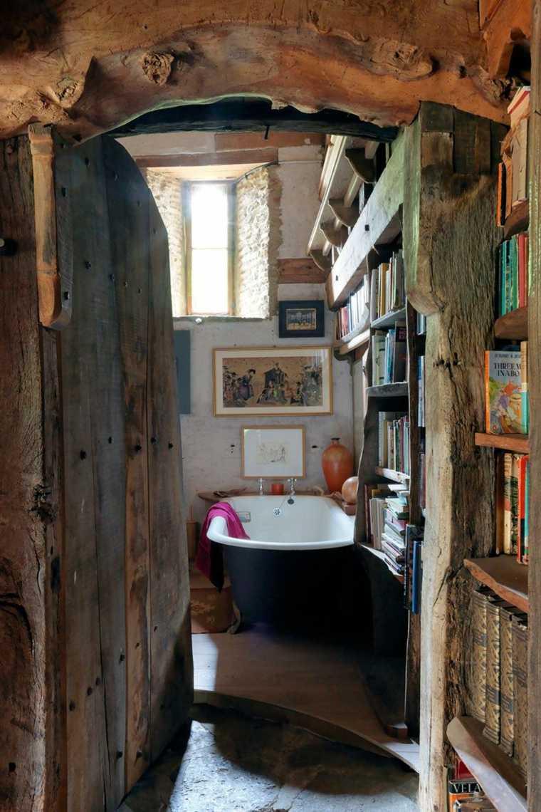 decoraciones rústicas de interiores de casas-bano-banera