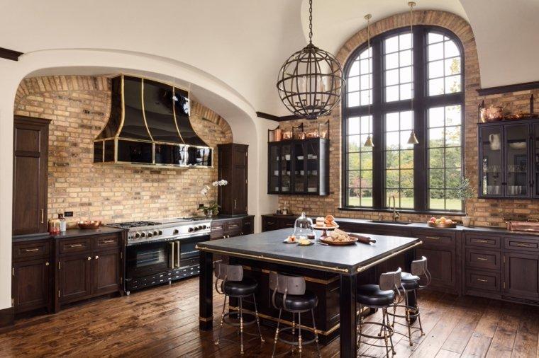 decoraciones-rusticas-de-interiores-de-casas-cocina-isla-ideas