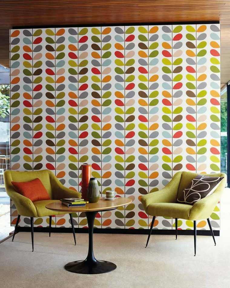 decorar con papel pintado-interiores-vintage