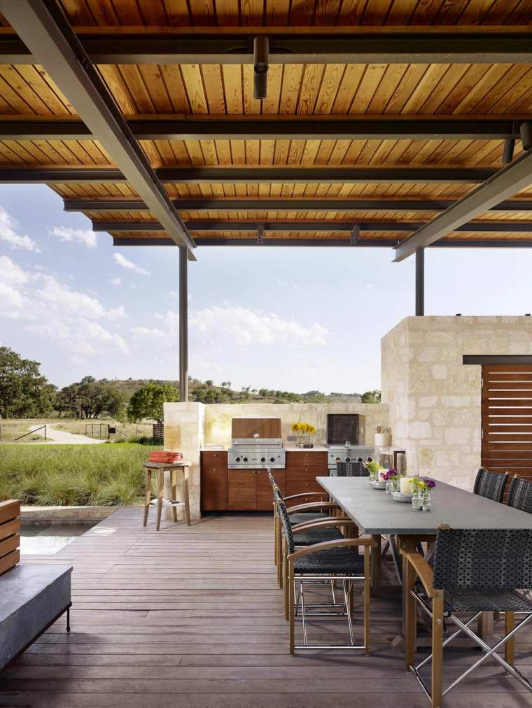 diseño de cocinas modernas-jardin-piscina