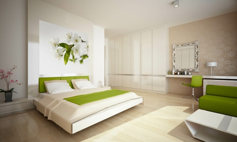 diseno de interiores dormitorios-blanco-verde