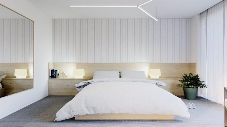 Dise o de interiores dormitorios modernos en blanco con - Camera da letto economica ...